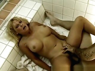 Dangled Stud Jack Deeply Drills Greta's Taut Hairy Cunt In The Bathroom