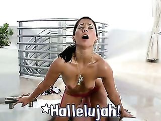 Dark Haired Reena Sky With Round Butt Is Good On Her Way To Make Hot Dude Finish Off On Oral Act