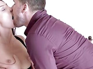 Breast Sucking And Romantic Couch Hook-up For Beautiful Katy Rose