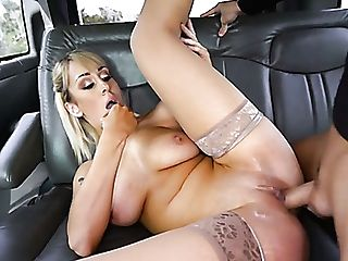 Horn-mad And Sexy Bosomy Blonde Mummy Is Fiercely Fucked In The Car