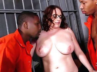Horny Black Dudes Fuck Hook-up-appeal Big-boobed Milky Mommy Of Their Cellmate