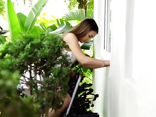 Mandy Flores And Her Man Shag The Gardener