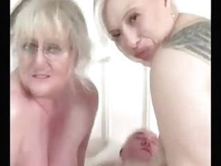 Two Old Women Playing With Old Grand-pa's Penis
