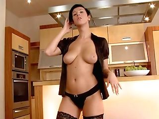 Flirty Black-haired Emylia Argent In Black Stockings And Undies Shows