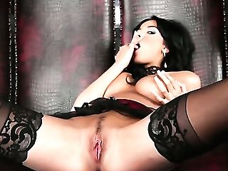 Anissa Kate Mummy Dark Haired Chick Nastily Salivating On Her Boobies And Kneading It On Puffies And Then Masturbates Her Gash