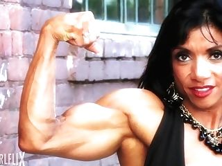 Muscular Woman Flexing Biceps