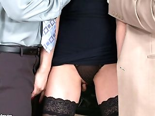 Tall Long Legged Black-haired Ashley In Nylon Stockings And Unveiling Undies