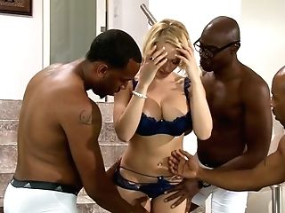 Sugary Bosomy Blonde Is Ready For Powerful Black Gang-fuck Pounding
