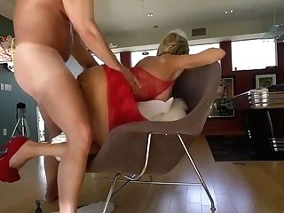 Mila In A Crimson Sundress Is Engaged In Hump On A Tabouret