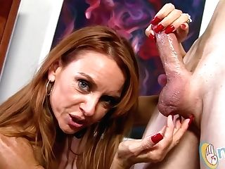 Janet Mason Gives Her Man A Hand Jobs!