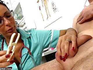 Black-haired Mom Doc And Her Masculine Patient - Hospital Romp