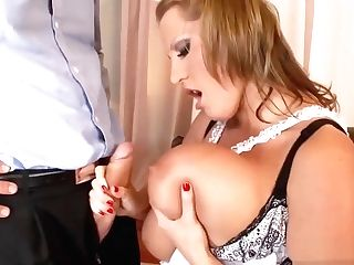 Blonde Maid With Giant Gazongas Gets Fucked