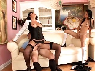 Exotic Stepmom In Corset Roxanne Fucks Stepson's Gf With Belt Dick