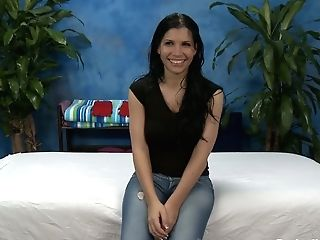 Black Haired Sexy Chick Rebecca In Blue Jeans Looks For