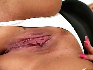 Attractive Chubby Blonde Jem Stone Shows Off Her Chubby Gash With Spread Labia