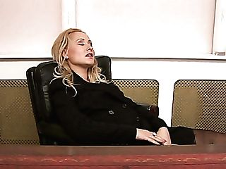 Lewd Blonde Office Biotch Is Actually Ready To Get Hairy Cunt Drilled