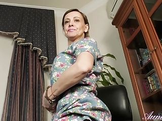 Hairy Mummy Gerda Strips And Plays For You In The Office